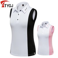 Wholesale stitch golf resale online - 2020 Summer Women Golf T Shirt Sleeveless Stitching Quick Drying Golf Polo Shirt Turn Down Collar Lady Golf Clothing Simple Vest