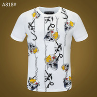 Wholesale crystals skulls for sale - Group buy Skull T shirt Mens Summer Basic Solid black White crystal Casual T Shirts Punk letter tops Tee man fashion clothing short sleeve Cotton