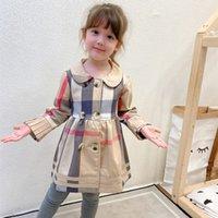 Wholesale kids princess velvet clothes for sale - Group buy Autumn Winter New Girls Plus Velvet Plaid Dress Kids Designer Clothes Children Khaki Double Breasted Princess Pleated Dress S728