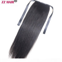 Wholesale zzhair for sale - Group buy ZZHAIR g quot quot Machine Made Remy Hair Ribbon Ponytail Clips in Human Hair Extensions Horsetail Natural Straight