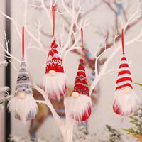 Wholesale trees decor resale online - Handmade Christmas Gnomes Ornaments Plush Swedish Tomte Santa Figurine Scandinavian Elf Christmas Tree Pendant Decoration Home Decor BWF2196
