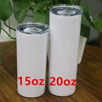 20oz Sublimation Skinny Tumbler With Straw Stainless Steel Water Bottles Double Insulated Slim Vacuum Cups Coffee Milk Mugs A12