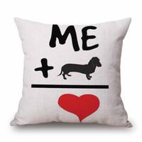Wholesale dakimakura pillow cover resale online - New Design Christmas Dog Love Printed Cotton Linen Pillow Case Decorative Office Home Throw Pillow Cover Dakimakura