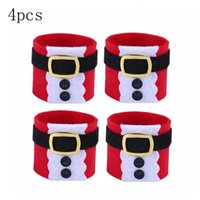 Discount holiday napkin rings Set Of 4PCS Cute Santa Napkin Ring Napkin Buckle For Christmas Decoration For Wedding Holidays Parties1