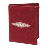 rote weibliche brieftasche groihandel-Exotic Genuine Skate Skin Male Female Short Red Clutch Purse Authentic Stingray Leather Women Small Trifold Wallet Card
