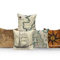 Wholesale throw pillows maps resale online - World Map Cushion Cover Europe Retro Ship Home Sofa Decor Pillow Cover Pillowcase Car Cushions Linen Throw Pillow Case