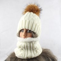 sombrero de piel de visón tejer al por mayor-Womens Hat With Scarf Warm Fleece Inside Beanie Girls Winter Cap For Women Real Mink Fur Pompom Hat Female Knitted Caps 201012