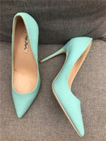 мятная зеленая обувь для свадьбы оптовых-Free shipping fashion women pumps Mint Green snake printed point toe high heels thin heel shoes genuine leather real photo wedding shoes