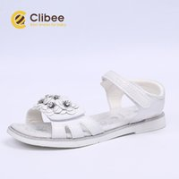 Wholesale sandal kids girl cute for sale - Group buy CLIBEE Girl Open Toe Flower Sandals Kids Comfort Beach Shoes with Leather Arch Support Insole Cute Fashion Flat Princess Shoes