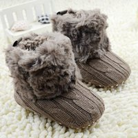 Wholesale baby girl crochet cotton booties resale online - Fleece Boots Toddler Girl Boy Wool Snow Crib Shoes Winter Warm Booties First Walkers New Infants Crochet Knit Baby C1005