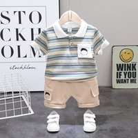 Wholesale handsome boy short kids for sale - Group buy Boys Striped Summer Casual Baby Boy Suit New Children Top Shorts Pieces set Fashion Handsome Kids Clothes C1016