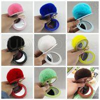 Wholesale Novelty Plush Fur Ball Keychain Puff Mirror Keychains Car Bag Key Chain Christmas Party Favor styles RRA3736