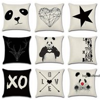 Wholesale panda pillow case for sale - Group buy Pillow Covers Panda Printed Throw Pillow Case Geometry Pattern Cushion Covers Home Decorative Pillowcase Black and White Styles YW1114