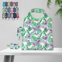 Wholesale food advertising resale online - Portable Shopping Handbag Foldable Resuable Polyester Eco friendly Grocery Bag New Floral Cloth Pattern Advertising Gift Tote Bags CCD1985