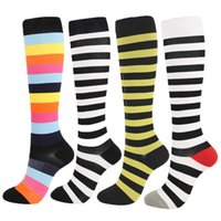 Wholesale striped gym socks for sale - Group buy New Men Compression Stockings Men Women Color Compression Socks Patchwork Striped Quicker Speed Up Blood Circulation Gym