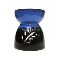 Wholesale ceramic oil diffuser for sale - Group buy Unique Dark Blue Reactive Glaze Ceramic Essential Oil Burner Pierced Leaves Design Wax Melts Aromatherapy Tealight Diffuser