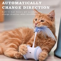 Discount usb powered toys Interactive Pet Dog Cat Electric Toy Micro USB Powered Tumbler Automatically Change Direction Teasing Wand Ball Rotating Wheels LJ201125