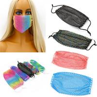 Wholesale rhinestone mask for sale - Group buy Bling Bling Diamond Face Mask Fashion Trend Nightclub Bar Rhinestones Masks Washable Reusable Fishing Net Face Mask