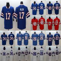 Wholesale jim kelly jerseys for sale - Group buy Allen Devin Stefon Diggs Buffalo Bills Jim Kelly Tre Davious White Football Limited Jersey