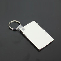 Sublimation Blank Keychain Party Favor MDF Square Wooden Pendant Thermal Transfer Double-sided Key Ring White DIY Gift 60*40*3mm A03