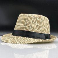 Wholesale fedora hat mens fashion for sale - Group buy 2019 Fashion Summer Straw Mens Sun Hats Fedora Trilby Gangster Cap Summer Beach Cap Panama Hat Sombrero Travel Sunhat yxlZoK xjfshop