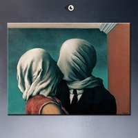 Wholesale art lover painting resale online - Rene Magritte Canvas Art quot The Lovers quot Home Decoration Oil Painting On Canvas Wall Art Canvas Pictures For Wall Decor