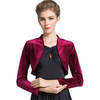 Wholesale red shrug jacket for sale - Group buy Burgundy Red Ladies Cropped Velvet Long Sleeve Shrug Womens Bolero Jacket Cardigan Outwear Top Plus Sizes available Y201007