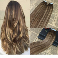 Wholesale taped hair extensions for sale - Group buy 100 Human Hair Tape in Extensions Balayage Highlighted Tape on Remy Hair Extensions Omber Brazilian Hair Extensions g