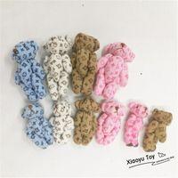 Wholesale mini teddy bear bouquet resale online - 50pc cm Cartoon Lovely Plush Cloth Mini Teddy Bear Joint Tactic Bear Pendants For Keychain Bouquet Stuffed Dolls LJ200914