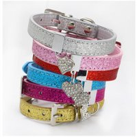 dog bling collar 2021 - Glitter PU Leather Dog Collar Adjustable Pet Puppy Cat Collar with Bling Heart Shaped Rhinestone Pendant XS S