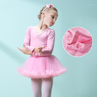 long girl dresses trains 2021 - Girls Skirted Leotard Children's Autumn Dance Training Dress Long Sleeve Tutu Ballet Clothes Cotton Dancewear Kids Solid Dancer1