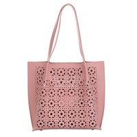 Wholesale body bag suit for sale - Group buy Hollow Flower Shape Shoulder Bag Women Casual Large Capacity Totes Bag Suit Two Piece Pink Handbags Wallets Bolso Mujer