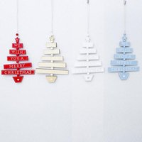 Wholesale merry christmas wishes resale online - Christmas Tree Ornament Hanging Decorations For Home Wooden Vine Wood Sign Pendant We Wish You A Merry Christmas Print Pendant EWD2603