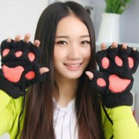 Wholesale bear fingers for sale - Group buy 2020 Explosion Bear Claw Gloves Winter Warm Claw Gloves Thickened Bear Plush Half fingered Cat Gloves