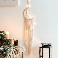 Wholesale blankets hanging resale online - Blanket Bohemian Chic Macrame Wall Hanging Tapestry Mandala Moon Dreamcatcher Wall Decor Boho Woven Knitted Tapestries Home Deco K2