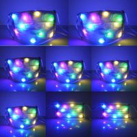 Discount half face light up mask Light LED Light Glowing Masks Halloween Nightclub Luminous Up Half Face Mask Disco Party Mouth CovX1B
