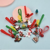 Wholesale car birthday party resale online - Cartoon Cute Christmas Keychain PVC Soft Glue Christmas Gift Pendant Car Bag Ornament Accessories Key Chain Party Favor Styles KKA2112