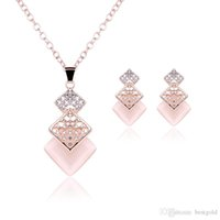 Wholesale jewelry set diamond pink resale online - Pink Jewelry Gold Plated Necklace Set Fashion Square Diamond Wedding Bridal Costume Jewelry Sets Party Ruby Jewelrys Necklace Earrings