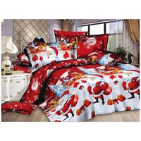 Christmas Home textile Cotton bedclothes high-quality 4pc bedding set (Color: Red) C1018