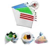 Wholesale storage bags resale online - Reusable produce mesh shopping bags mesh vegetable fruit toys storage pouch hand totes home storage bag DHA2150