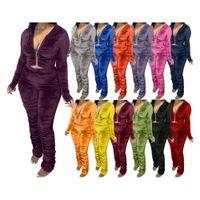 Wholesale purple pieces resale online - Women Velvet Tracksuit designers clothes Two Piece Set Pleated Zipper Long Sleeve Jacket Trousers Outfits Ladies Plus Size Casual Suit
