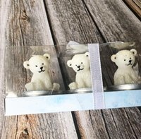 Wholesale pvc wedding candles for sale - Group buy 6pcs Polar bear Candle For Wedding Baby Shower Birthday Souvenirs Gifts Favor Packaged with PVC Box