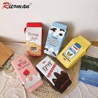 Wholesale strawberry milk resale online - RIEZMAN Cartoon Printing Milk Banana Strawberry Women Shoulder Bags Small PU Leather Ladies Crossbody Bags Phone Wallet Purse