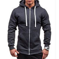 Wholesale Mens Solid Color Hooded Jackets Drawstring Pocket Long Sleeve Patchwork Outwears Slim Zipper Up Fitness Camping Hiking Coats