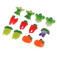 Wholesale vegetable charms resale online - 12pcs Brooch Badge Accessory Multicolor Vegetable Resin Desert Charms Crafts For Kids Crafts Xmas New Year Gifts