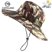 Wholesale army boonie hats resale online - Waterproof Tactical Sniper Camouflage Boonie Hats Foldable Nepalese Cap Militares Army Mens Bucket Hat Hiking