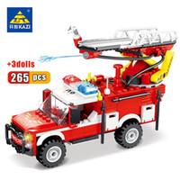 Wholesale kazi blocks resale online - Kazi Fire Fighting Trucks Car Building Blocks City Rescue Fire Truck Firefighter Figures Bricks Children Education Toys wmteLf