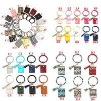 Wholesale designer wristlet clutches for sale - Group buy Bracelet Keychain Wallet Leopard Snake PU Leather Tassel Women Card Bag Women Clutch Wristlet Keyring BWB2046