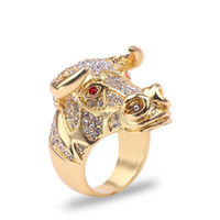 Wholesale bull jewelry for sale - Group buy Punk Hip Hop CZ Big Ring Chunky Black Bull OX with Golden Color Horns Rhinestones Jewelry for Unisex Men Women Fashion