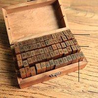 Wholesale wooden stamps alphabet resale online - Alphabet Wood Stamps Vintage Wooden Uppercase Alphabet Letters Rubber Stamps Seal Set